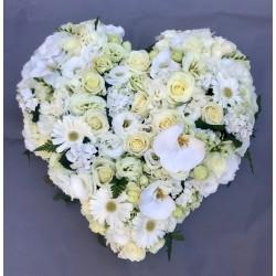 Cœur de deuil blanc fleurs...